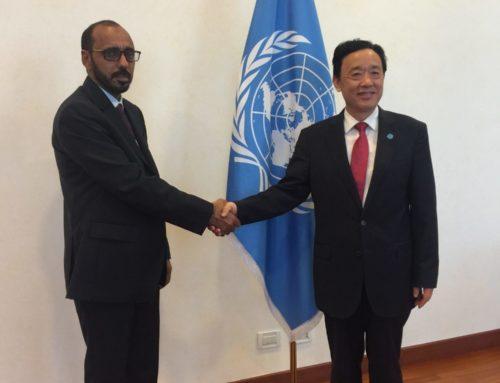 Meeting of HE Fahd Saleem Kafayen Minister Of Fishery Wealth and FAO DG HE Dr. Qu Dongyu